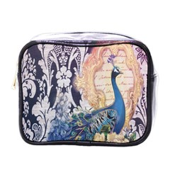 Damask French Scripts  Purple Peacock Floral Paris Decor Mini Travel Toiletry Bag (One Side)