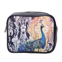 Damask French Scripts  Purple Peacock Floral Paris Decor Mini Travel Toiletry Bag (two Sides)