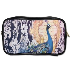 Damask French Scripts  Purple Peacock Floral Paris Decor Travel Toiletry Bag (two Sides)