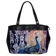 Damask French Scripts  Purple Peacock Floral Paris Decor Oversize Office Handbag (one Side)