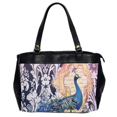 Damask French Scripts  Purple Peacock Floral Paris Decor Oversize Office Handbag (Two Sides)