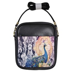 Damask French Scripts  Purple Peacock Floral Paris Decor Girl s Sling Bag