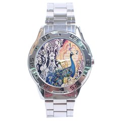 Damask French Scripts  Purple Peacock Floral Paris Decor Stainless Steel Watch (men s)