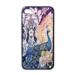 Damask French Scripts  Purple Peacock Floral Paris Decor Apple iPhone 4 Case (Black)