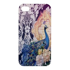 Damask French Scripts  Purple Peacock Floral Paris Decor Apple Iphone 4/4s Hardshell Case