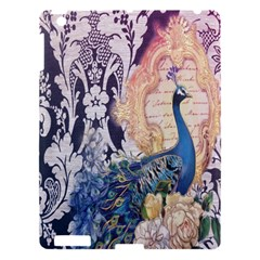 Damask French Scripts  Purple Peacock Floral Paris Decor Apple iPad 3/4 Hardshell Case