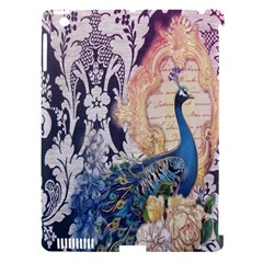 Damask French Scripts  Purple Peacock Floral Paris Decor Apple Ipad 3/4 Hardshell Case (compatible With Smart Cover)