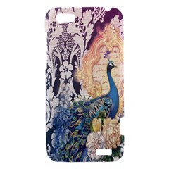 Damask French Scripts  Purple Peacock Floral Paris Decor HTC One V Hardshell Case