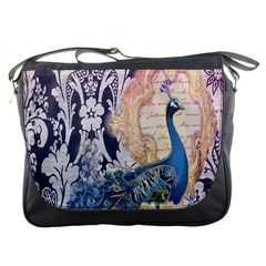Damask French Scripts  Purple Peacock Floral Paris Decor Messenger Bag