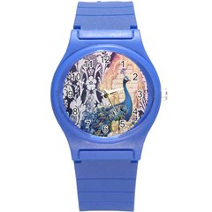 Damask French Scripts  Purple Peacock Floral Paris Decor Plastic Sport Watch (small)