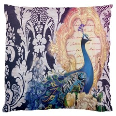 Damask French Scripts  Purple Peacock Floral Paris Decor Large Cushion Case (Two Sided)