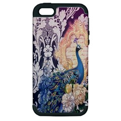 Damask French Scripts  Purple Peacock Floral Paris Decor Apple iPhone 5 Hardshell Case (PC+Silicone)