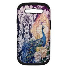 Damask French Scripts  Purple Peacock Floral Paris Decor Samsung Galaxy S III Hardshell Case (PC+Silicone)