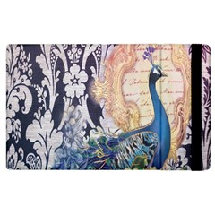 Damask French Scripts  Purple Peacock Floral Paris Decor Apple iPad 2 Flip Case