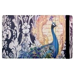 Damask French Scripts  Purple Peacock Floral Paris Decor Apple Ipad 3/4 Flip Case