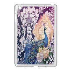 Damask French Scripts  Purple Peacock Floral Paris Decor Apple iPad Mini Case (White)