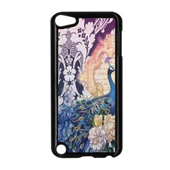 Damask French Scripts  Purple Peacock Floral Paris Decor Apple iPod Touch 5 Case (Black)
