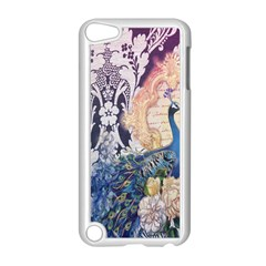 Damask French Scripts  Purple Peacock Floral Paris Decor Apple iPod Touch 5 Case (White)