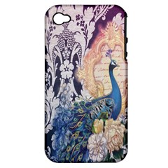 Damask French Scripts  Purple Peacock Floral Paris Decor Apple Iphone 4/4s Hardshell Case (pc+silicone)
