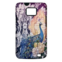Damask French Scripts  Purple Peacock Floral Paris Decor Samsung Galaxy S II Hardshell Case (PC+Silicone)