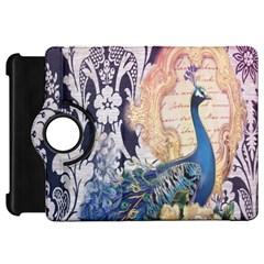 Damask French Scripts  Purple Peacock Floral Paris Decor Kindle Fire HD 7  Flip 360 Case