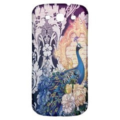 Damask French Scripts  Purple Peacock Floral Paris Decor Samsung Galaxy S3 S Iii Classic Hardshell Back Case