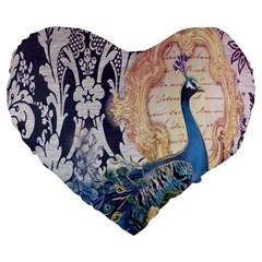 Damask French Scripts  Purple Peacock Floral Paris Decor 19  Premium Heart Shape Cushion