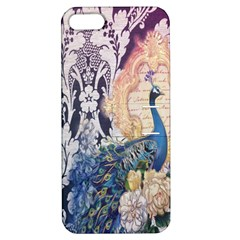 Damask French Scripts  Purple Peacock Floral Paris Decor Apple iPhone 5 Hardshell Case with Stand