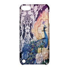 Damask French Scripts  Purple Peacock Floral Paris Decor Apple Ipod Touch 5 Hardshell Case With Stand