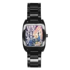 Damask French Scripts  Purple Peacock Floral Paris Decor Men s Stainless Steel Barrel Analog Watch