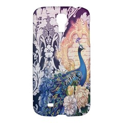 Damask French Scripts  Purple Peacock Floral Paris Decor Samsung Galaxy S4 I9500/I9505 Hardshell Case