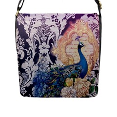 Damask French Scripts  Purple Peacock Floral Paris Decor Flap Closure Messenger Bag (Large)