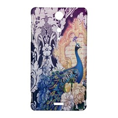 Damask French Scripts  Purple Peacock Floral Paris Decor Sony Xperia TX Hardshell Case