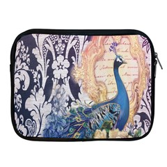Damask French Scripts  Purple Peacock Floral Paris Decor Apple Ipad 2/3/4 Zipper Case