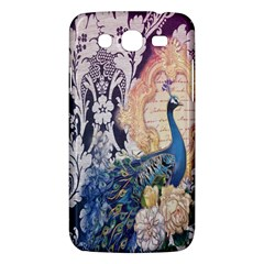 Damask French Scripts  Purple Peacock Floral Paris Decor Samsung Galaxy Mega 5.8 I9152 Hardshell Case