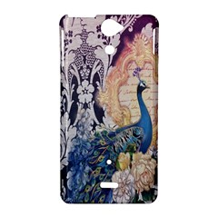 Damask French Scripts  Purple Peacock Floral Paris Decor Sony Xperia V Hardshell Case