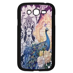 Damask French Scripts  Purple Peacock Floral Paris Decor Samsung I9082(Galaxy Grand DUOS)(Black)