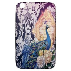 Damask French Scripts  Purple Peacock Floral Paris Decor Samsung Galaxy Tab 3 (8 ) T3100 Hardshell Case
