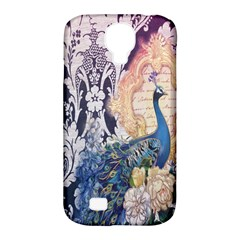 Damask French Scripts  Purple Peacock Floral Paris Decor Samsung Galaxy S4 Classic Hardshell Case (PC+Silicone)
