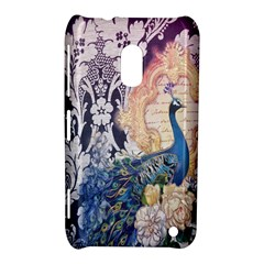 Damask French Scripts  Purple Peacock Floral Paris Decor Nokia Lumia 620 Hardshell Case