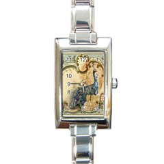 Victorian Swirls Peacock Floral Paris Decor Rectangular Italian Charm Watch
