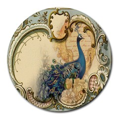 Victorian Swirls Peacock Floral Paris Decor 8  Mouse Pad (Round)