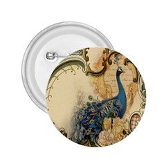 Victorian Swirls Peacock Floral Paris Decor 2.25  Button