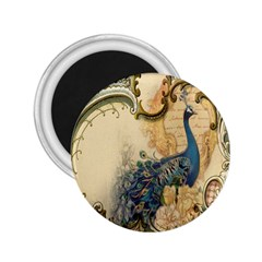 Victorian Swirls Peacock Floral Paris Decor 2.25  Button Magnet