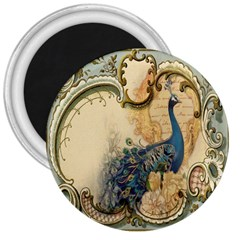 Victorian Swirls Peacock Floral Paris Decor 3  Button Magnet