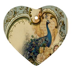 Victorian Swirls Peacock Floral Paris Decor Heart Ornament