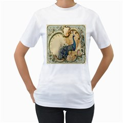 Victorian Swirls Peacock Floral Paris Decor Womens  T-shirt (White)