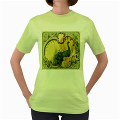 Victorian Swirls Peacock Floral Paris Decor Womens  T Shirt (green)