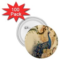 Victorian Swirls Peacock Floral Paris Decor 1.75  Button (100 pack)