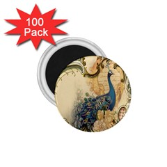 Victorian Swirls Peacock Floral Paris Decor 1.75  Button Magnet (100 pack)